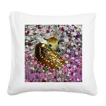 Bambina Fawn Flowers Square Canvas Pillow