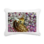Bambina Fawn Flowers Rectangular Canvas Pillow