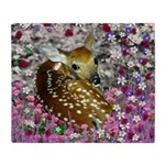 Bambina the Fawn in Flowers II Throw Blanket