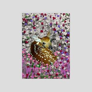 Bambina the Fawn in Flowers II 5'x7'Area Rug