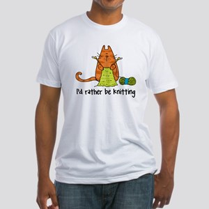 Rather be knitting Fitted T-Shirt