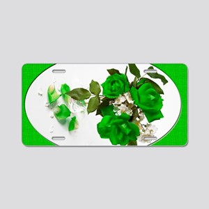3GreenRoses_6X4 Aluminum License Plate