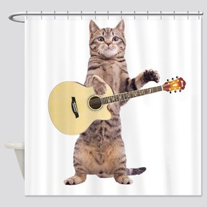 Cat Playing Guitar Shower Curtain