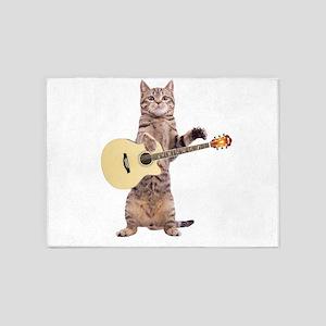 Cat Playing Guitar 5'x7'Area Rug