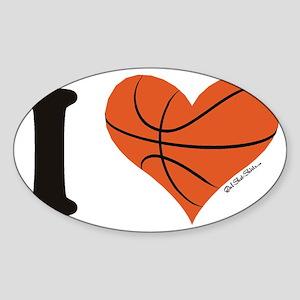 heart bball Sticker (Oval)