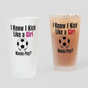 kick like girl Drinking Glass