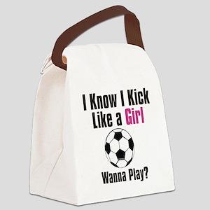 kick like girl Canvas Lunch Bag