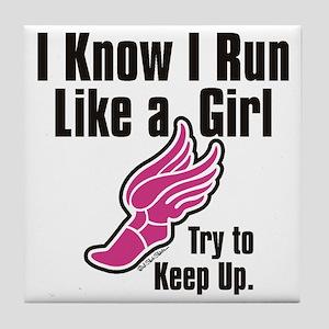 run like a girl Tile Coaster