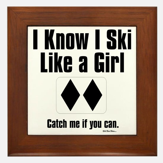 ski like a girl Framed Tile