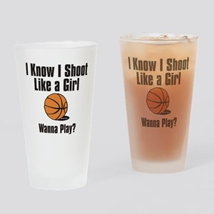 shoot like a girl Drinking Glass