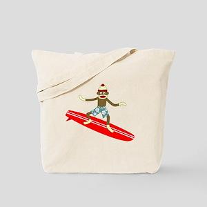 Sock Monkey Longboard Surfer Tote Bag