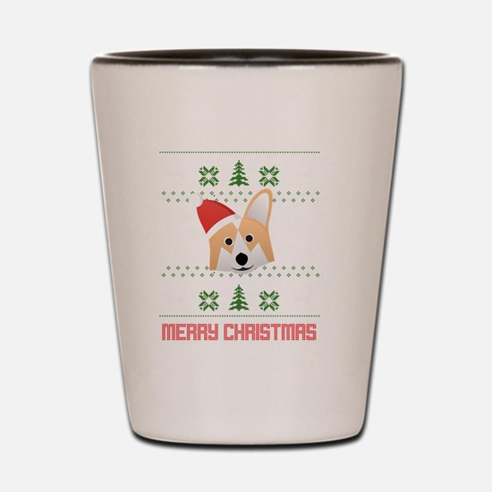 Corgi Santa Snow Christmas T-Shirt Shot Glass