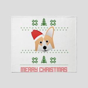 Corgi Santa Snow Christmas T-Shirt Throw Blanket
