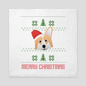 Corgi Santa Snow Christmas T-Shirt Queen Duvet