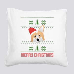 Corgi Santa Snow Christmas T- Square Canvas Pillow