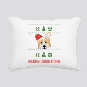 Corgi Santa Snow Christm Rectangular Canvas Pillow