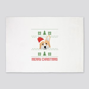 Corgi Santa Snow Christmas T-Shirt 5'x7'Area Rug