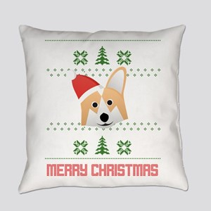 Corgi Santa Snow Christmas T-Shirt Everyday Pillow