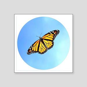 "Monarch Butterfly Button, M Square Sticker 3"" x 3"""