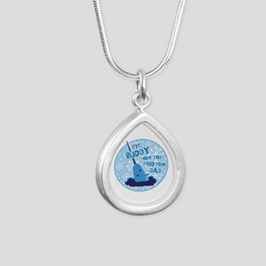 Elf Mr. Narwhal Quote Silver Teardrop Necklace