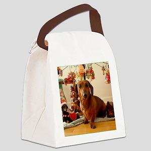 ChristmasDoxie1Mousepad Canvas Lunch Bag