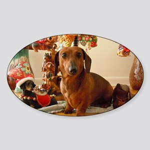ChristmasDoxie1Mousepad Sticker (Oval)