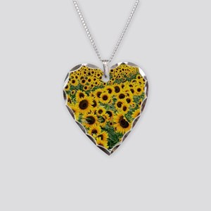 Sunflowers Necklace Heart Charm