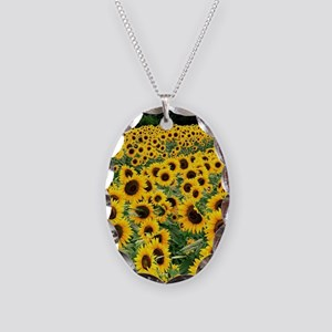Sunflowers Necklace Oval Charm