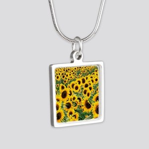 Sunflowers Silver Square Necklace