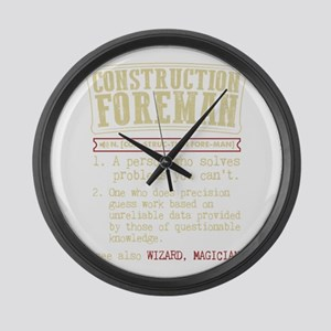 Construction Foreman Dictionary T Large Wall Clock