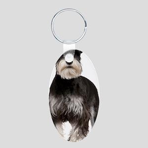 Minaature Schnauzer Aluminum Oval Keychain