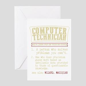 Computer Technician Funny Dictionar Greeting Cards