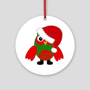 Santa Owl Ornament (Round)