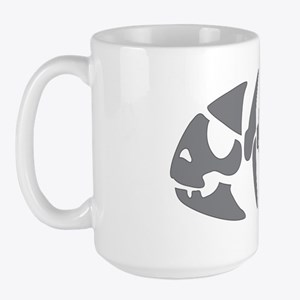piratefish-grey-blackborder Large Mug
