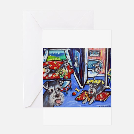 Schnauzer Busy House Greeting Cards