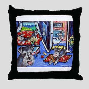 Schnauzer Busy House Throw Pillow