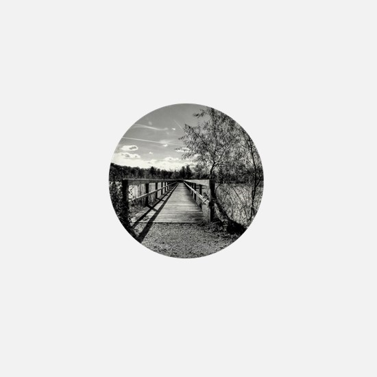 autumn pier black and white HDR Mini Button