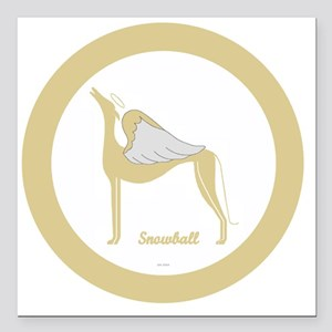"""SNOWBALL ANGEL GREY gold Square Car Magnet 3"""" x 3"""""""