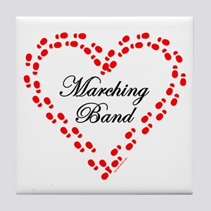 Red Marching Band Heart Tile Coaster