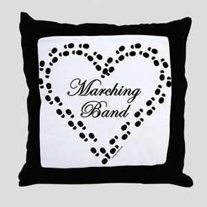 Black Marching Band Heart Throw Pillow