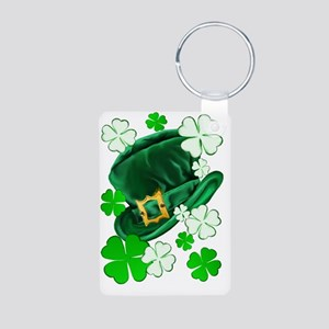 Irish Hat and ShamrocksTra Aluminum Photo Keychain