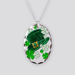 Irish Hat and ShamrocksTrans Necklace Oval Charm
