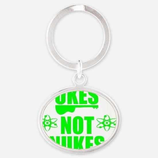 funny ukulele ukes not nukes anti wa Oval Keychain