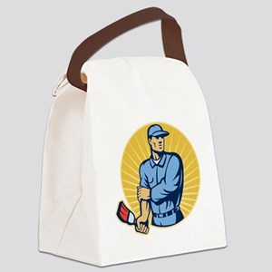 Painter holding paintbrush rollin Canvas Lunch Bag