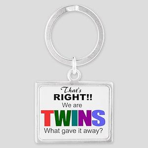 Humorous twins gift Landscape Keychain