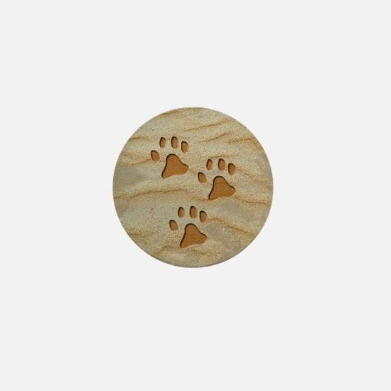 charm earring round paws sand Mini Button