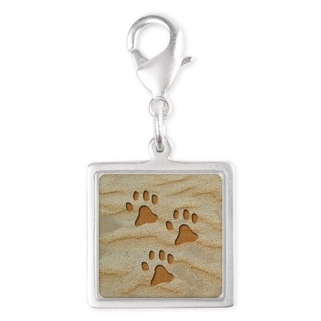 necklace round paws sand Silver Square Charm