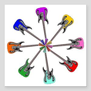 "Guitar wheel - Color Square Car Magnet 3"" x 3"""