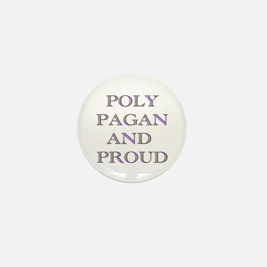 Poly pagan and proud words Mini Button
