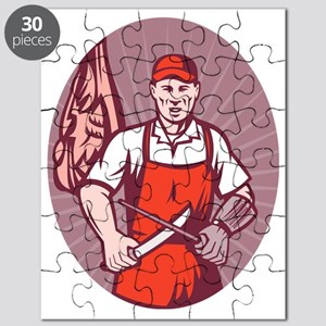 Butcher sharpening knife in butchery Puzzle